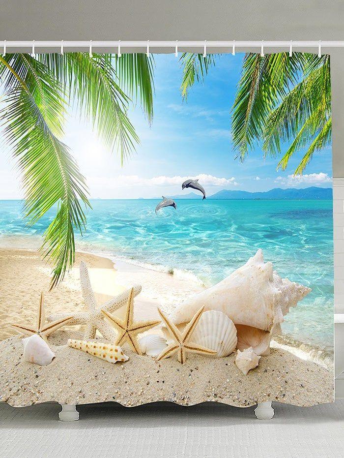 Ocean Life Shower Curtain Sea Horse Shell Coral Star Fish Beach