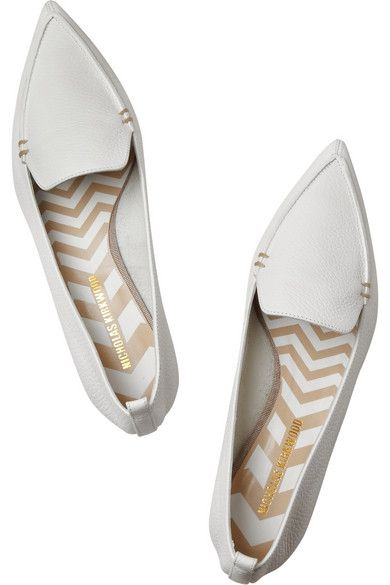 e1e528b4d03 Sculpted gold heel measures approximately 20mm  1 inch White  textured-leather Slip on