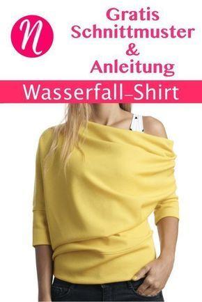 Shirt im Wasserfall-Look | Schnittmuster | Pinterest | Wasserfall ...