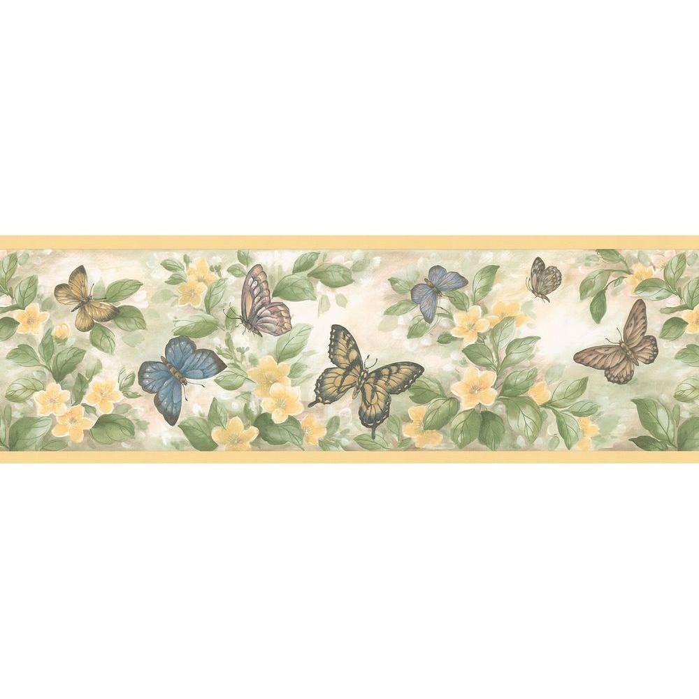 Brewster Butterflies Yellow Wallpaper Border 137b38633 The Home Depot Butterfly Wallpaper Butterfly Wallpaper Border Wallpaper Border