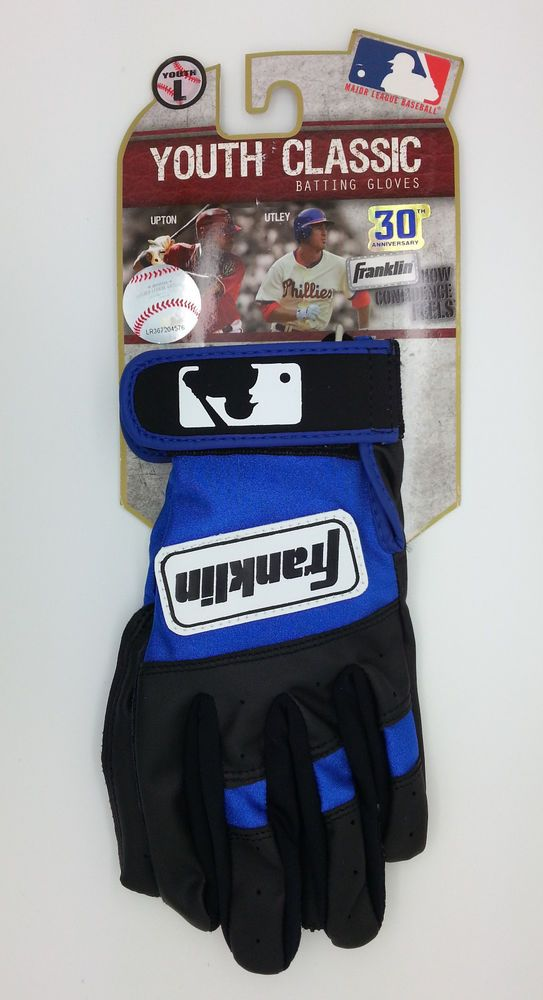 Franklin Youth Classic Black Blue Batting Gloves Pair Youth Large