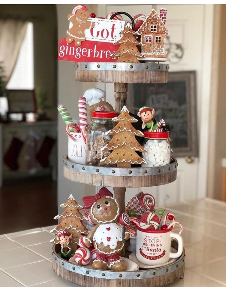 Gingerbread Tiered Tray -   20 christmas decorations ideas