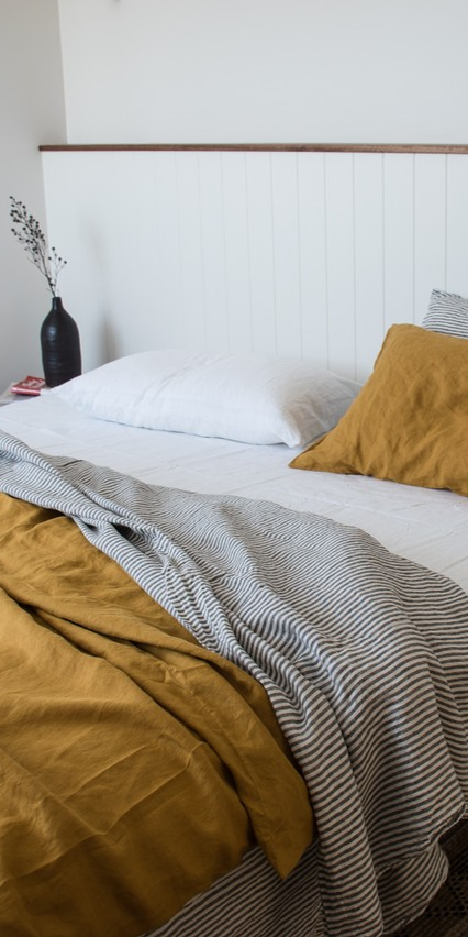 Charcoal stripe and Mustard French linen. A look for everyone to love.
