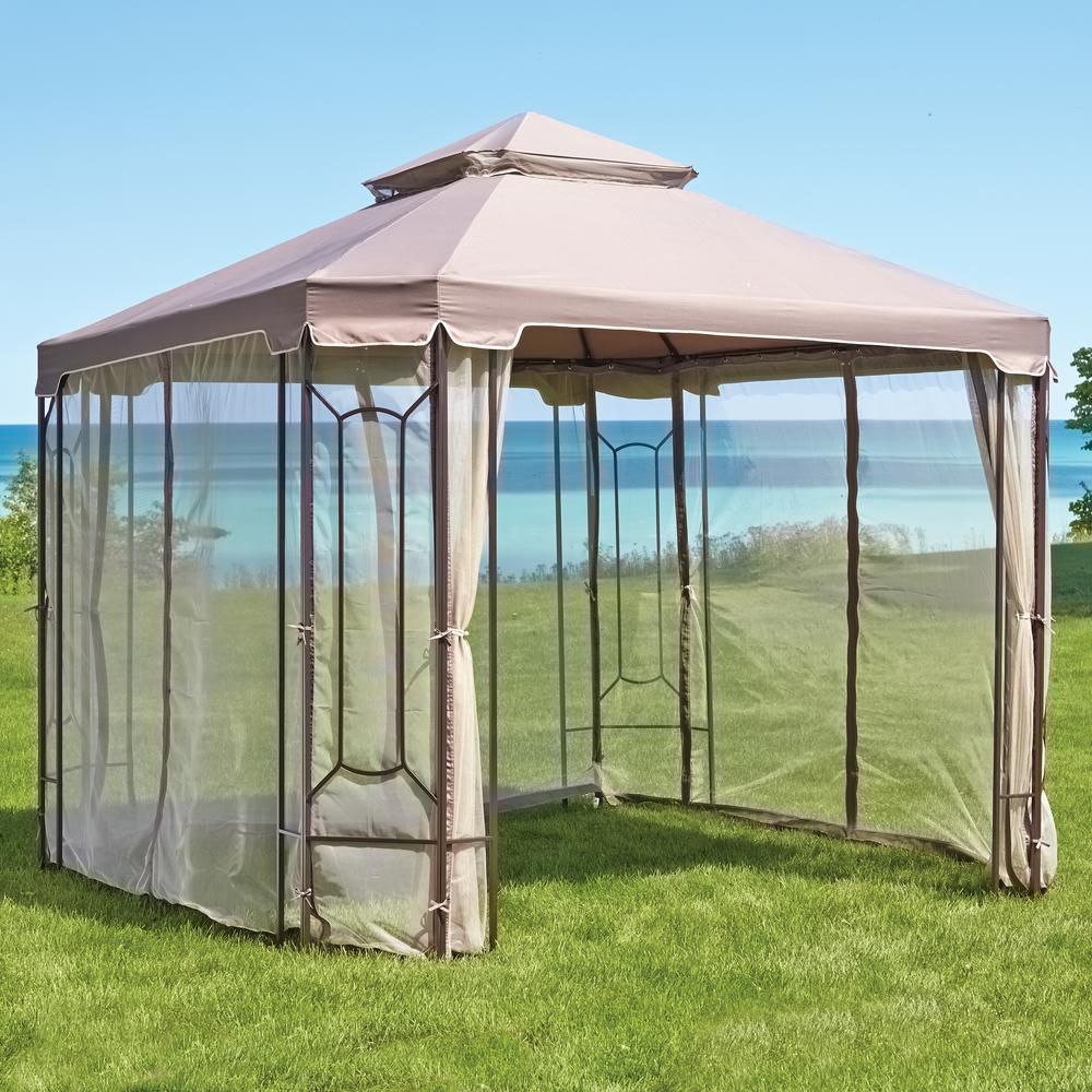 Hampton Bay Replacement Netting Outdoor Patio For 10 Ft X 10 Ft Cottleville Gazebo Browns Tans Gazebo Gazebo Replacement Canopy Steel Gazebo