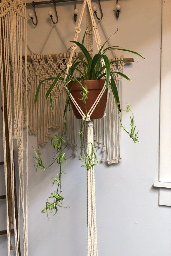Macrame Plant Hanger For A 4 To 8 Inch Pot Or Bowl In Choice If Color Boho Home Decor In 2020 Macrame Plant Holder Plant Hanger Plant Holders