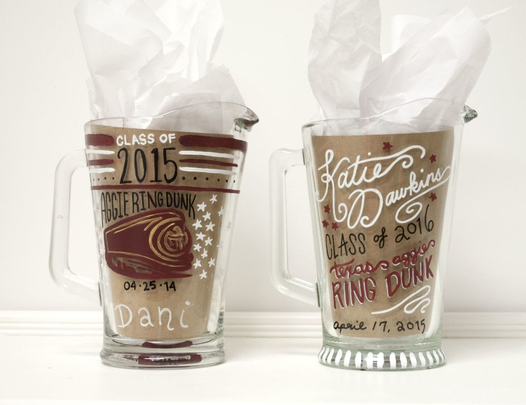 Custom Texas Aggie Ring Dunk Pitchers - hand painted and ...
