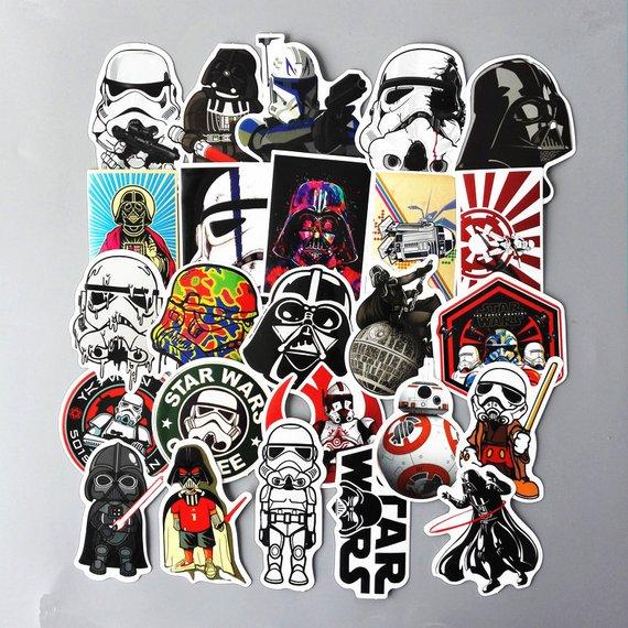 Mixed Star Wars Skateboard Stickers 10 25 50 Random Laptop Decal Phone Jedi Sith