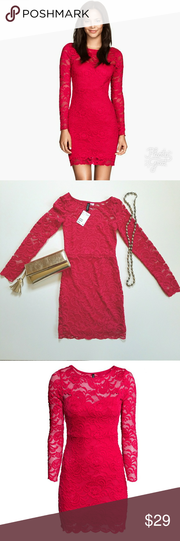 Nwt H M Red Lace Dress Long Sleeve Red Lace Long Sleeve Dress Red Lace Dress Long Sleeve Lace Dress