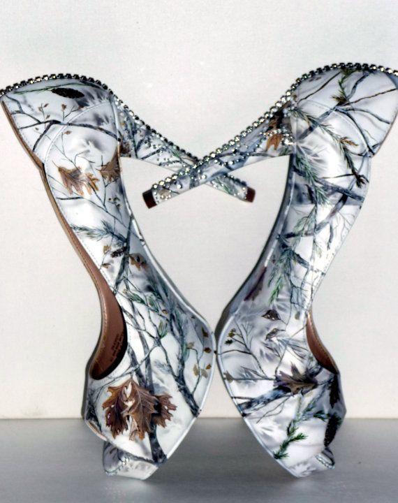 Snow White Camo Hand Painted Women 39 S Wedding Bridal Shoes Custom Heels To Flats Custom Heels Bride Shoes Snow Camo Wedding