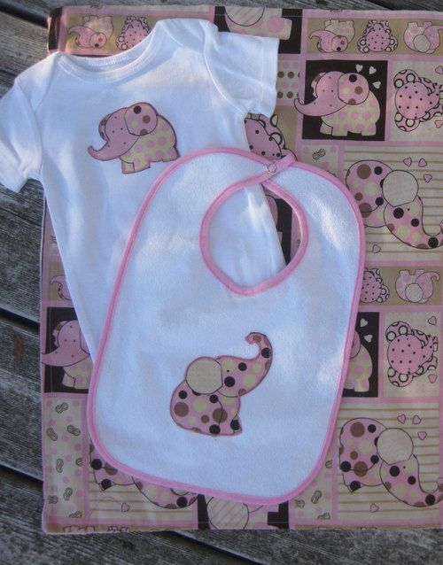 Pink elephant gift set for a baby girl light blanket onesie and - http://www.gifts-for-baby.net/pink-elephant-gift-set-for-a-baby-girl-light-blanket-onesie-and/
