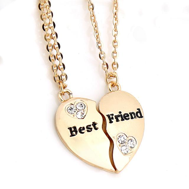 dd9bcc087b 18K Gold Plated Best Friends Broken Heart Pendants w/ Chains in 2019 ...