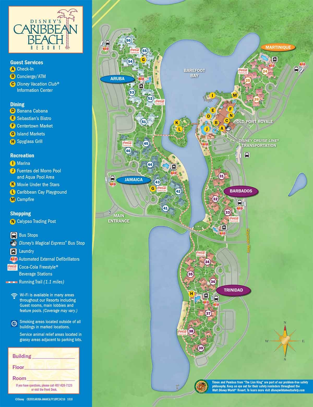 Disney S Caribbean Beach Resort Map
