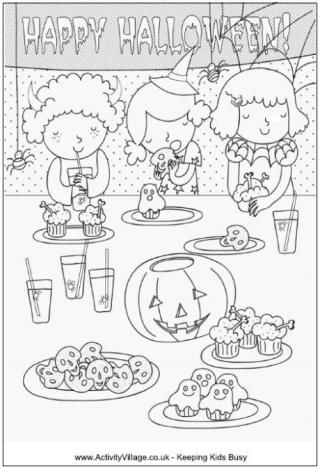 Halloween Party Colouring Page Halloween Coloring Pages Birthday Coloring Pages Witch Coloring Pages