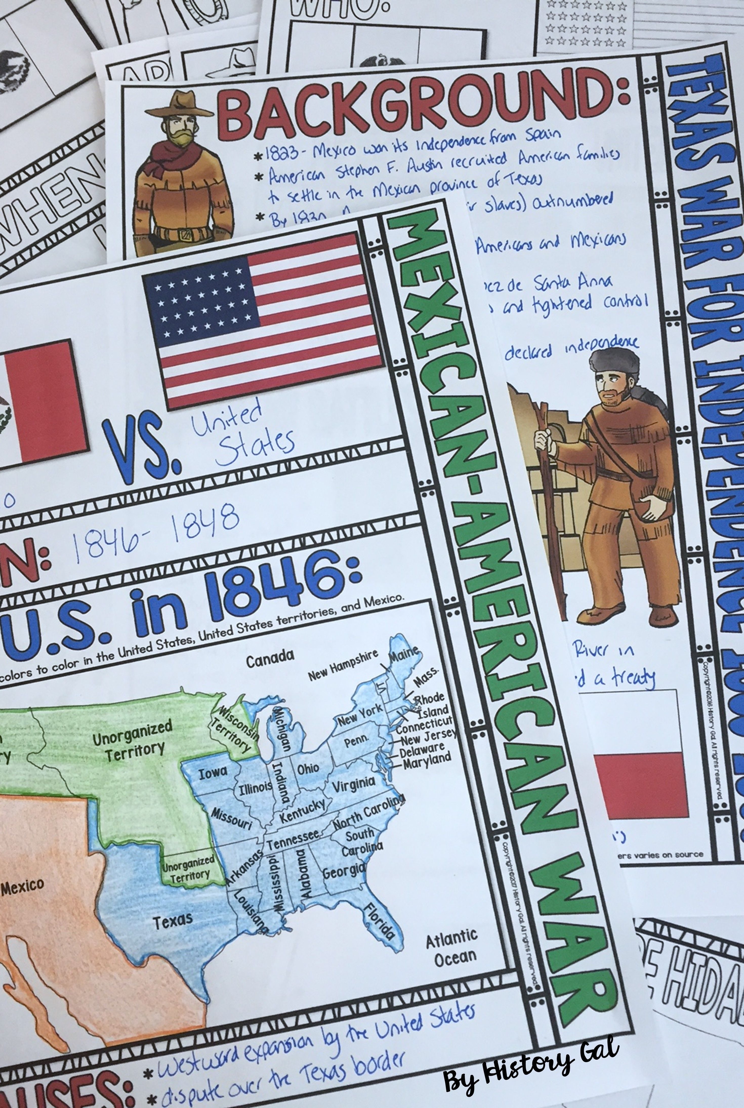 Photo of Texas War for Independence and the Mexican American War Doodle Notes