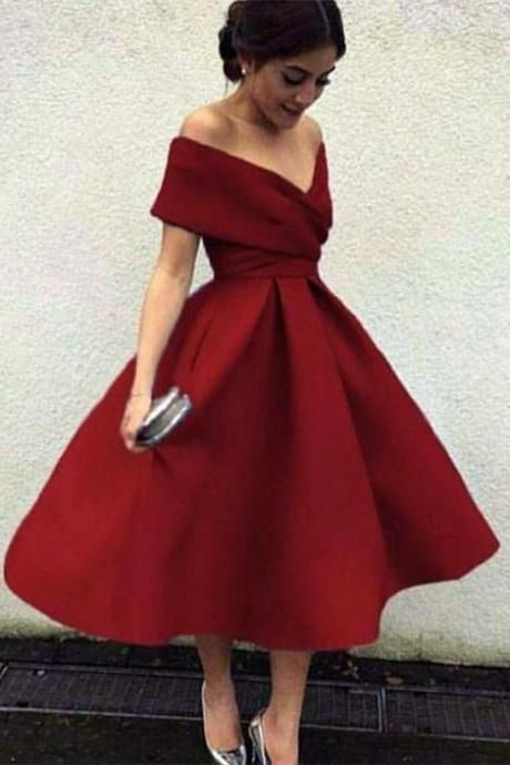 A Line Burgundy Off the Shoulder Short Prom Dresses V Neck Homecoming Dresses JS603 - Tea length prom dress, Satin homecoming dress, Tea length dresses, Prom dresses short, Trendy dresses, Homecoming dresses long - A Line Burgundy Off the Shoulder Short Prom Dresses V Neck Homecoming Dresses JS603, SJS, This dress could be custom made, there are no extra cost to do custom size and color