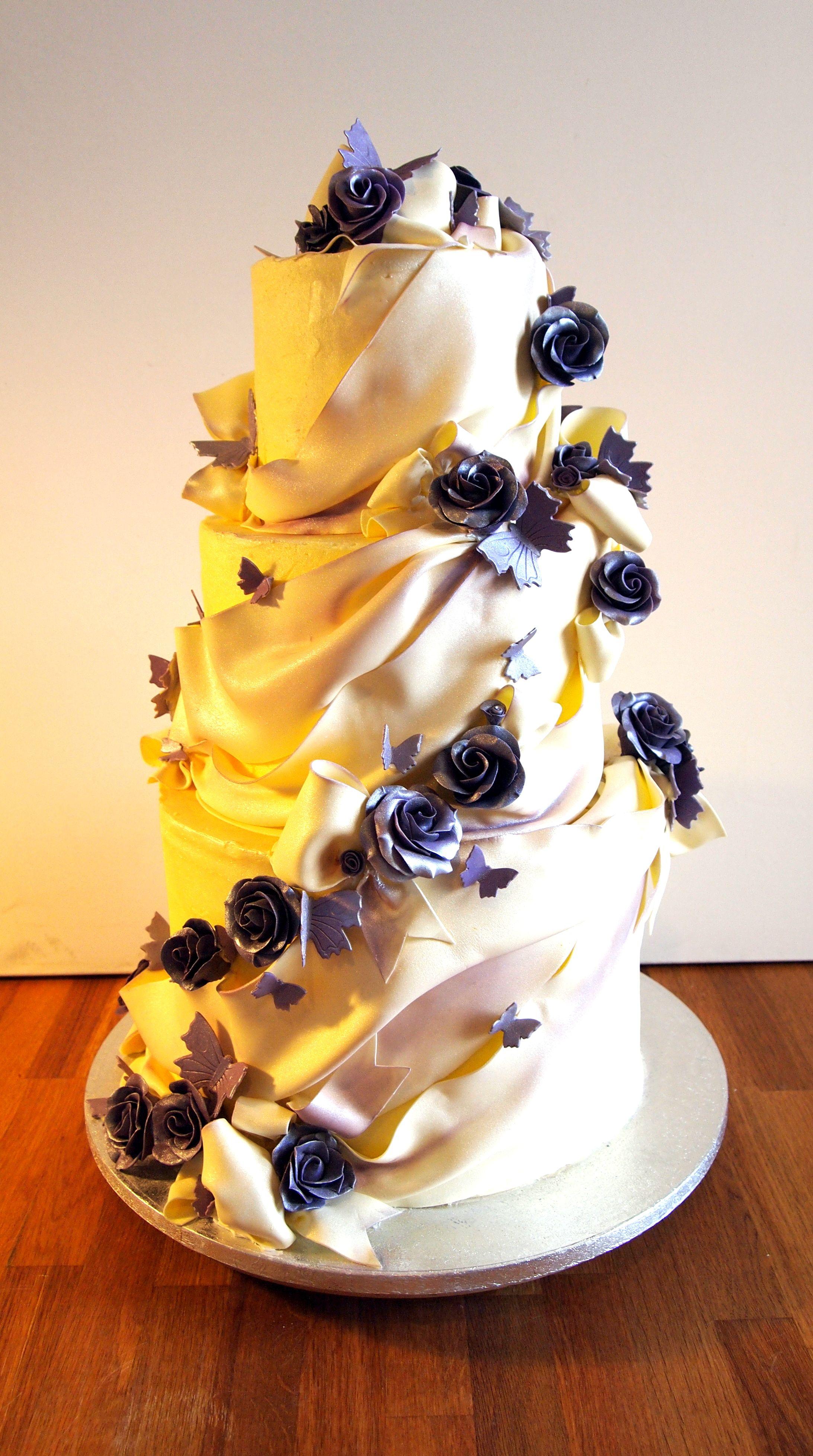 Cadburys Purple rose and white chocolate buttercream wedding cake. Ezziecakes | Contemporary ...