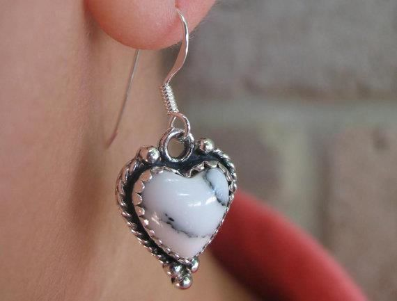 White Buffalo Turquoise Post earrings~ Artisan Handmade~ Sterling Silver~Southwestern Style