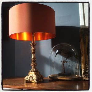 Brushed Copper Lampshade In Burnt Orange Lampshades