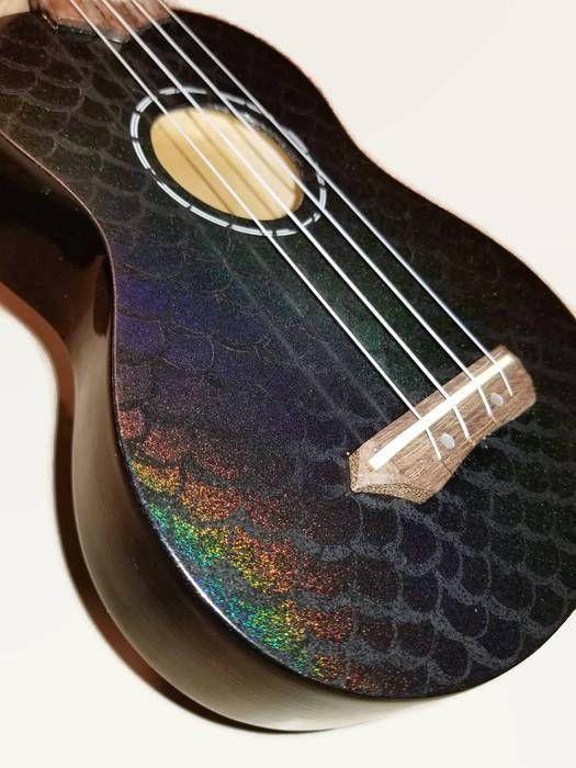 Soprano Mermaid Ukulele Holigraphic Painted Glitter Ukulele Etsy In 2020 Ukulele Design Ukulele Art Guitar
