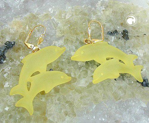 Brisur, Doppel-Delfin, gelb-matt  Brisur gold-farbig, nickelfrei