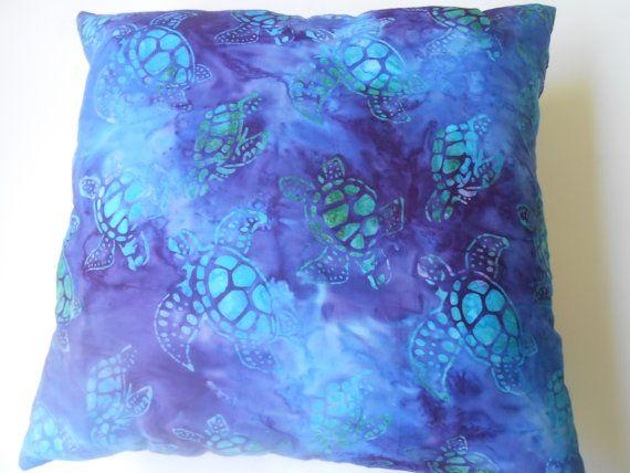 batik style purple sea turtle pillow by tuttomare on Etsy, $8.00