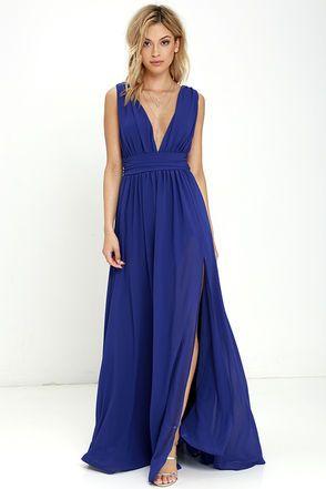 Long dress navy blue zipper