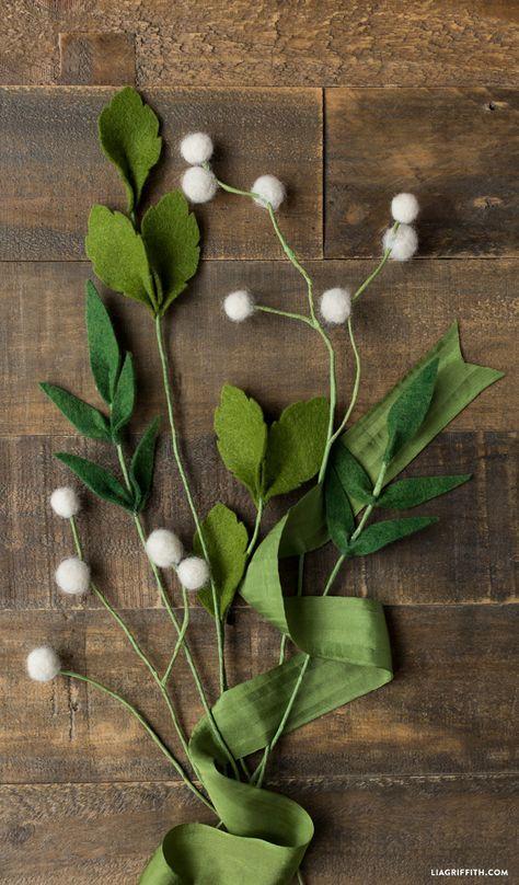 Felt Flower Greens And Billy Balls Ide Rangkaian Bunga