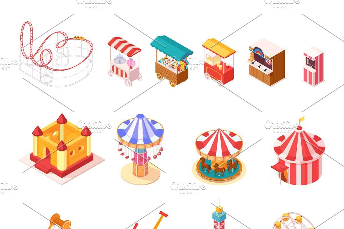Amusement park isometric icons set Isometric, Amusement