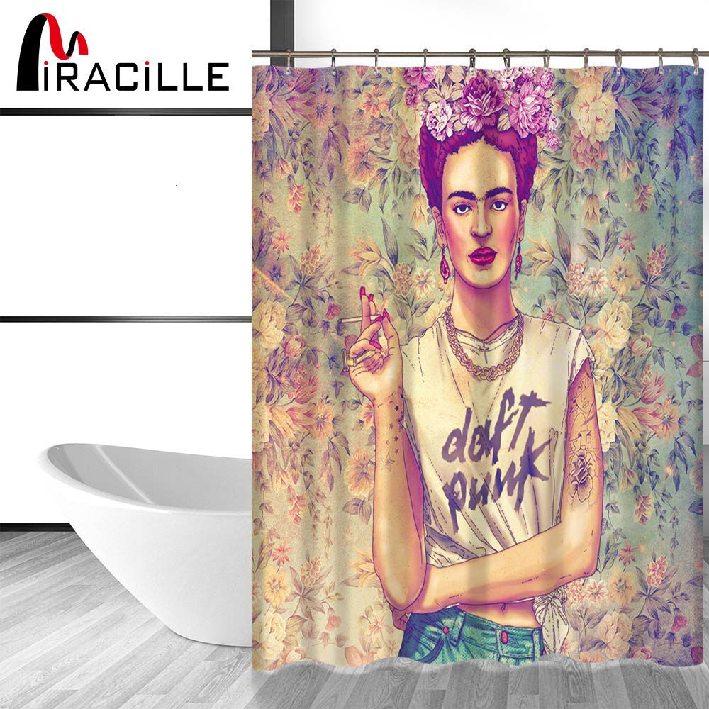Miracille Frida Kahlo Printed Bath Shower Curtains With Waterproof