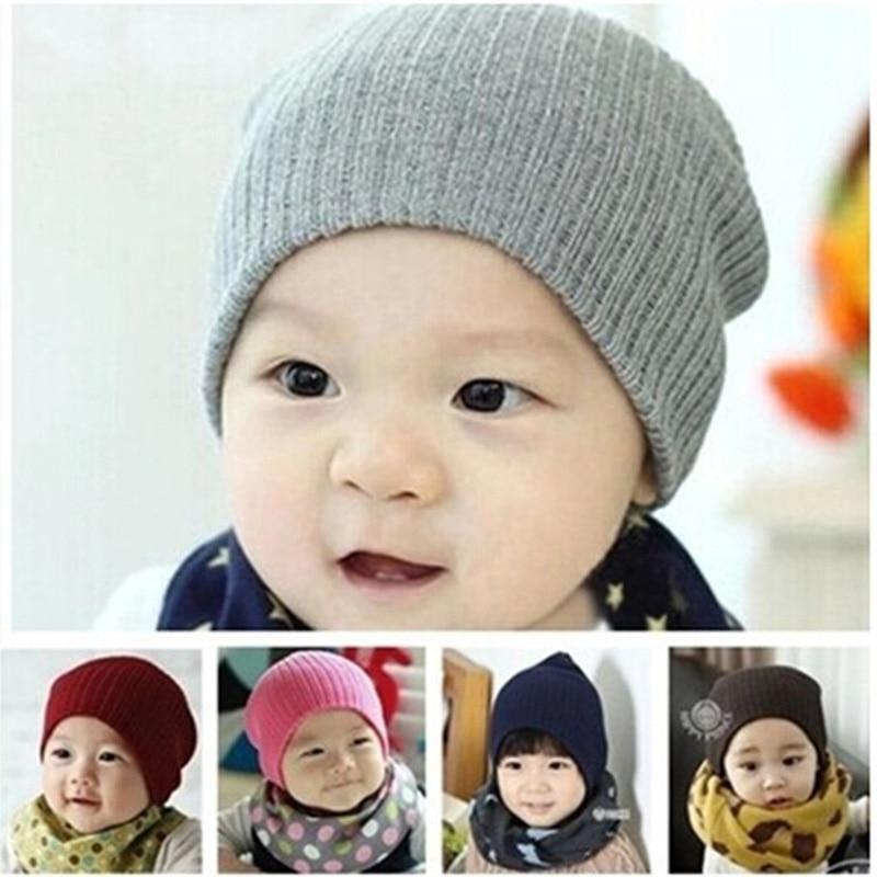 d5e165ab9be DreamShining Baby Hat Kids Newborn Knitted Cap Crochet Solid Children  Beanies Boys Girls Hats Headwear Toddler