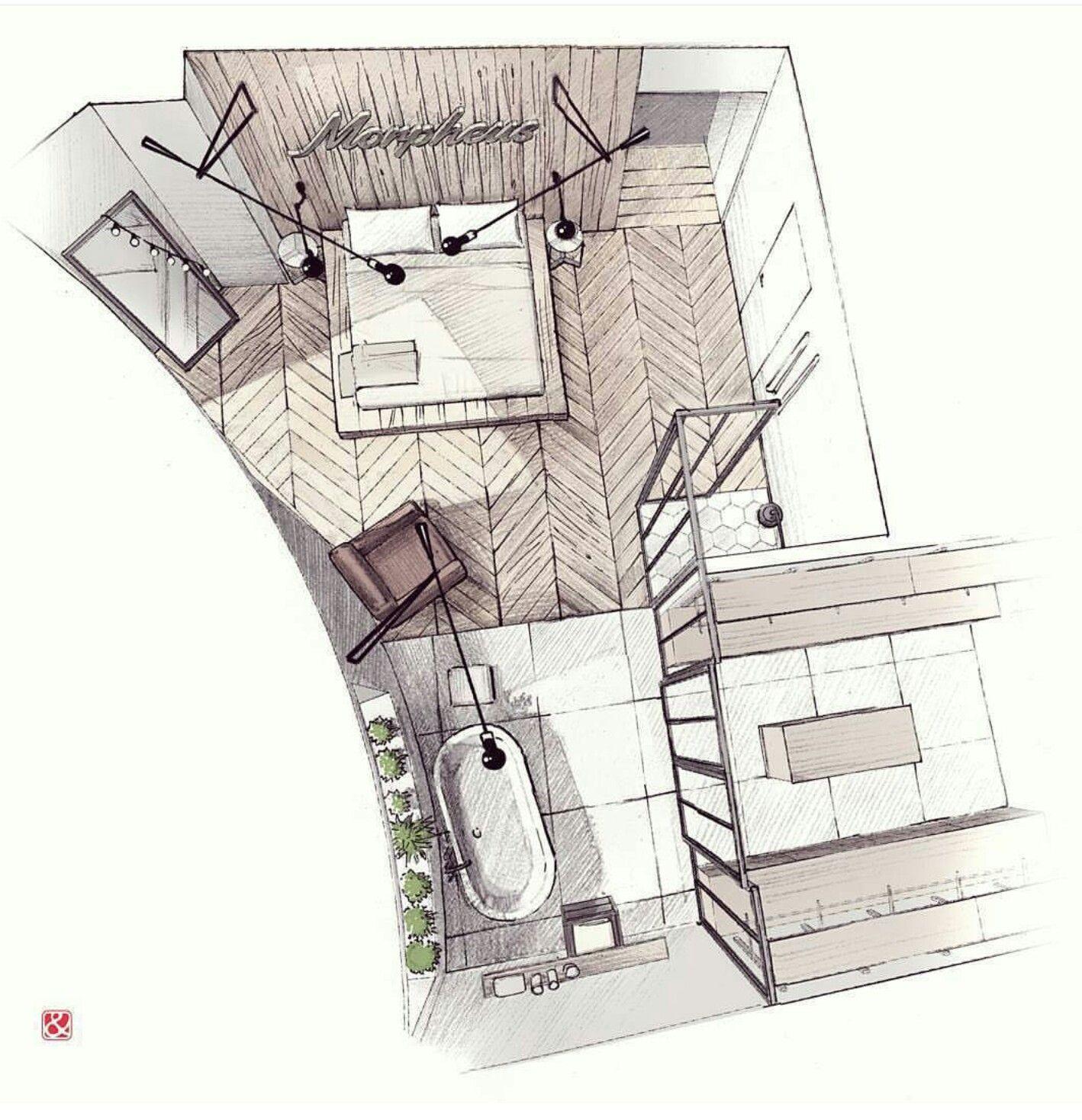 innenraumperspektive von oben spannung durch ungewohnten blickwinkel interior renderinginterior sketchinterior design portfoliosinterior architecture