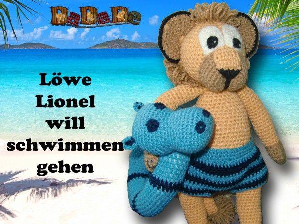 Löwen Lionel mit Schwimmreif Hippo und Badehose, Häkelanleitung ...