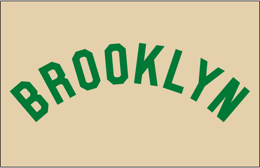 28ef2e89 Brooklyn Dodgers Jersey Logo (1937) - BROOKLYN arched in green on cream  jersey, worn by Brooklyn Dodgers on road jersey in 1937 only