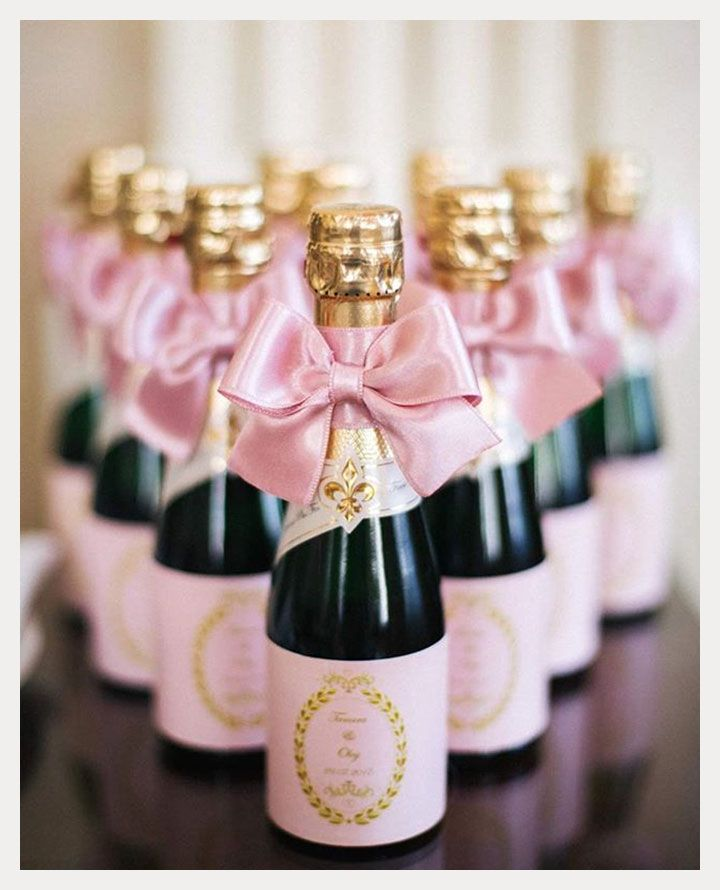 9 Pink Favors for February Weddings ~ mini pink champagne bottles ...