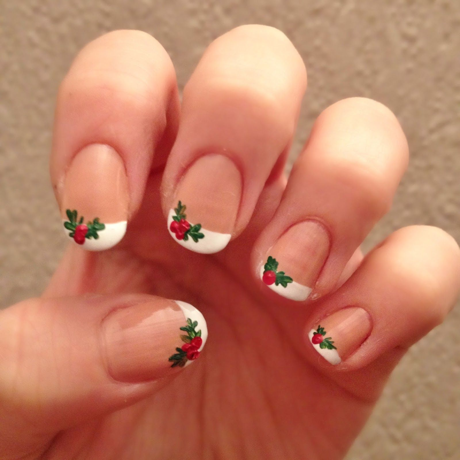 NOTD series No.3 French Holly Christmas nails, Acrylic