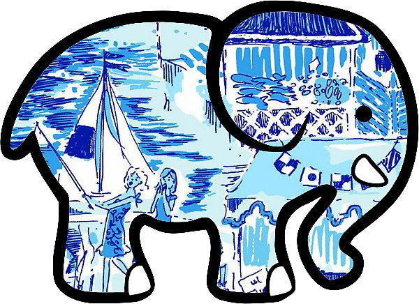 a66a34eccad634 Ivory Ella Elephant Sticker Lilly Pulitzer Inspired Print