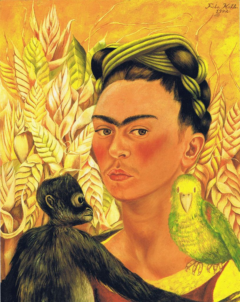 Frida Kahlo: Self-Portrait with monkey and parrot (1942 ...