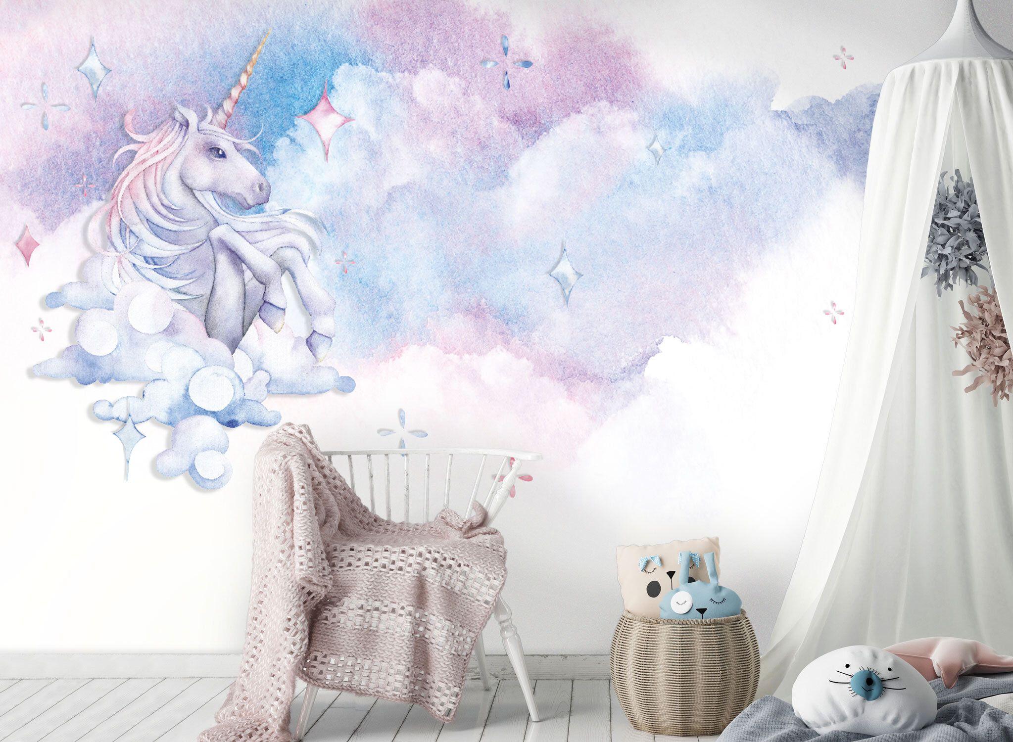 Tapete Fototapete Kinderzimmer Einhorn Aquarell Wolken