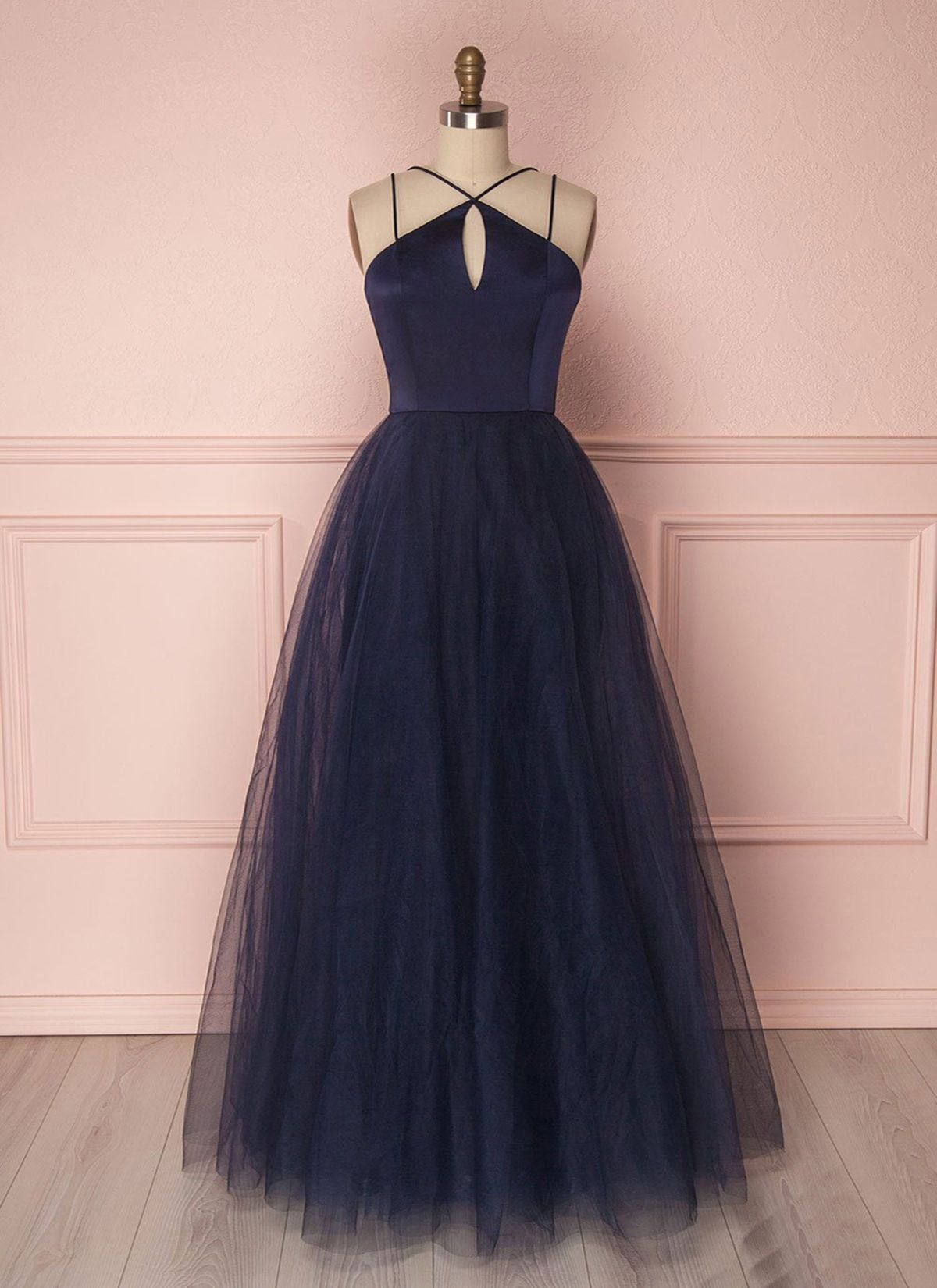 Simple navy blue tulle open back long evening dress prom dress from