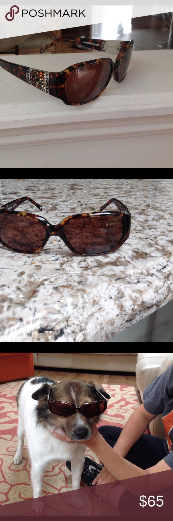 5eaf71f95d6c Brighton crystal voyage sunglasses Brown tortoise shell w colored amber  brown small crystals on sides..unique and gorgeous..perfect condition.case  included ...