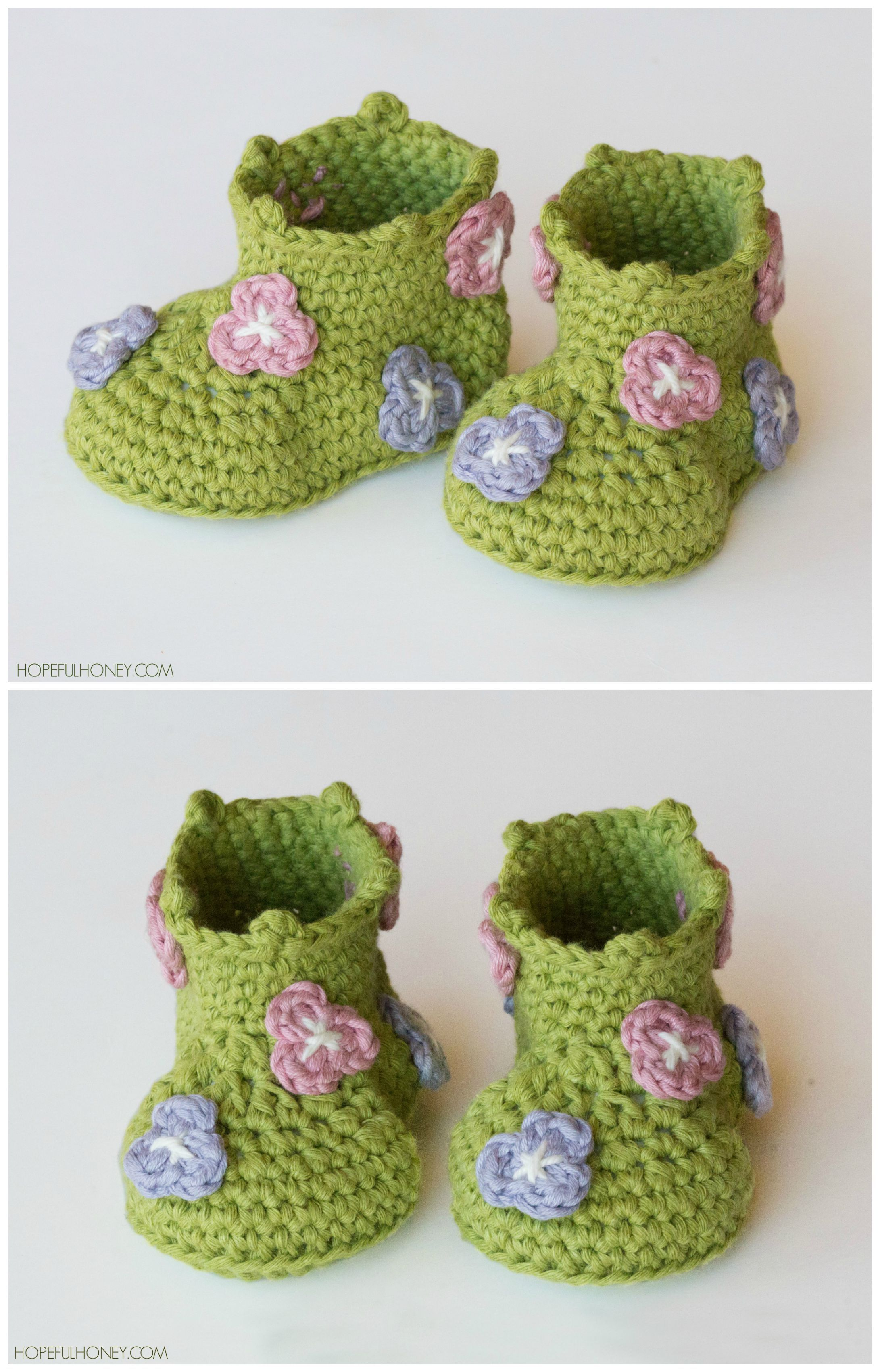 Field Of Flowers Baby Booties Crochet Pattern | Moogly Community ...