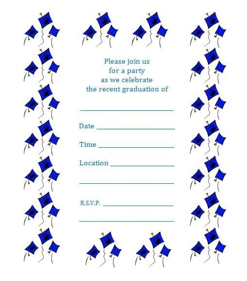 free printable graduation party invite – flying caps | printables, Invitation templates
