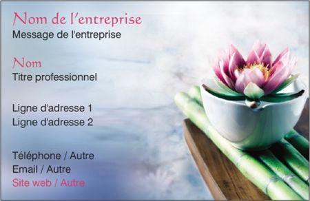 Cartes De Visite Conomiques Couleur Bleu Clair Thme Fleur LotusCartes StyleFloral