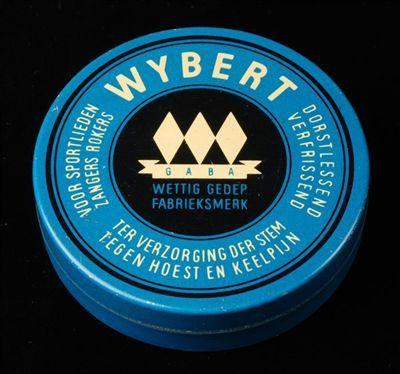 """Rond blik, blauw met zwart en wit, """"Wybert"""""""