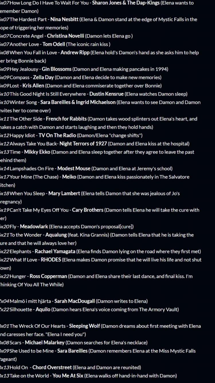 The Vampire Diaries Damon Elena Playlist Vampire Diaries Songs Vampire Diaries Music Vampire Diaries Funny