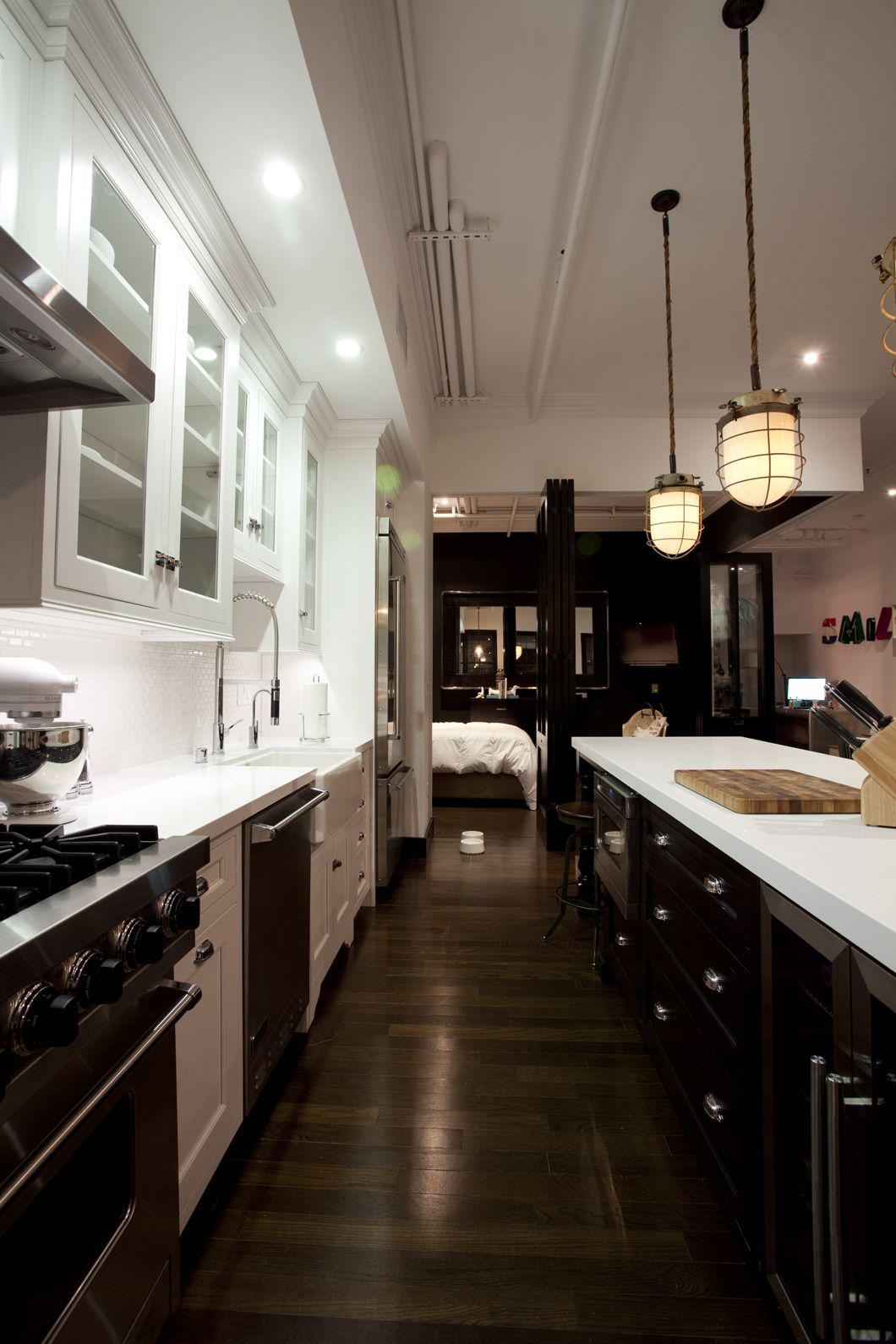 Cool use of cliche cabinetry mixed with modern touches could be