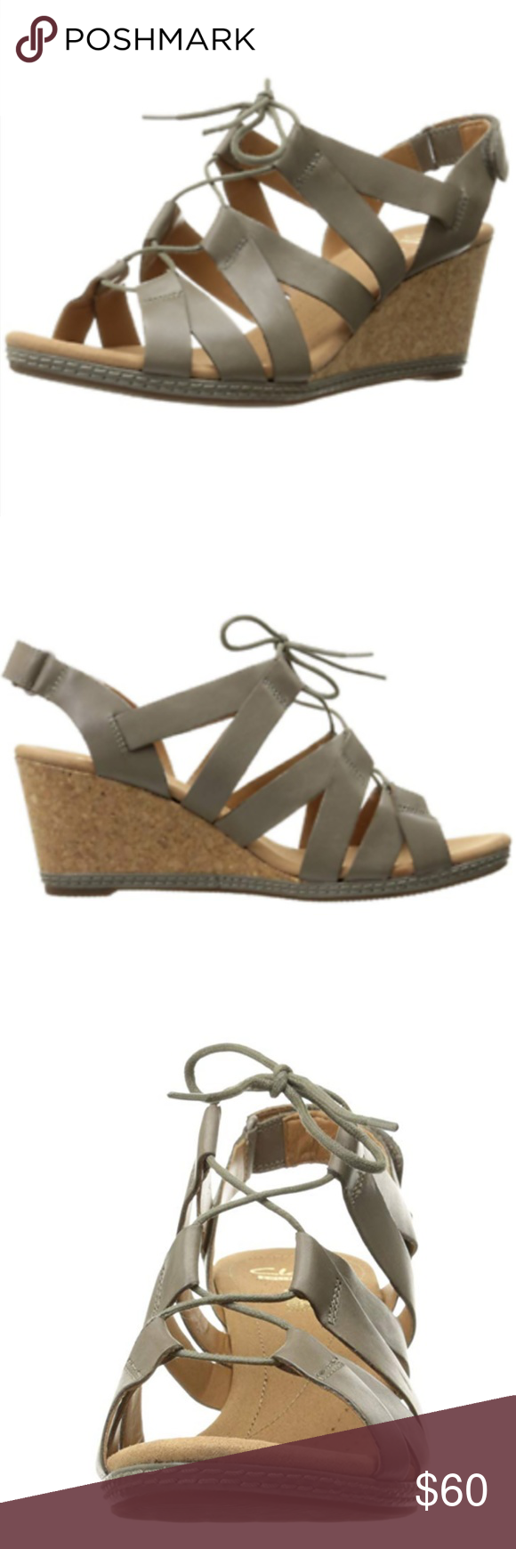8617a254a677 NWOT Clarks Helio Mindin Wedge Sandals Lace Up Clarks Women s Helio Mindin  Wedge Sandal