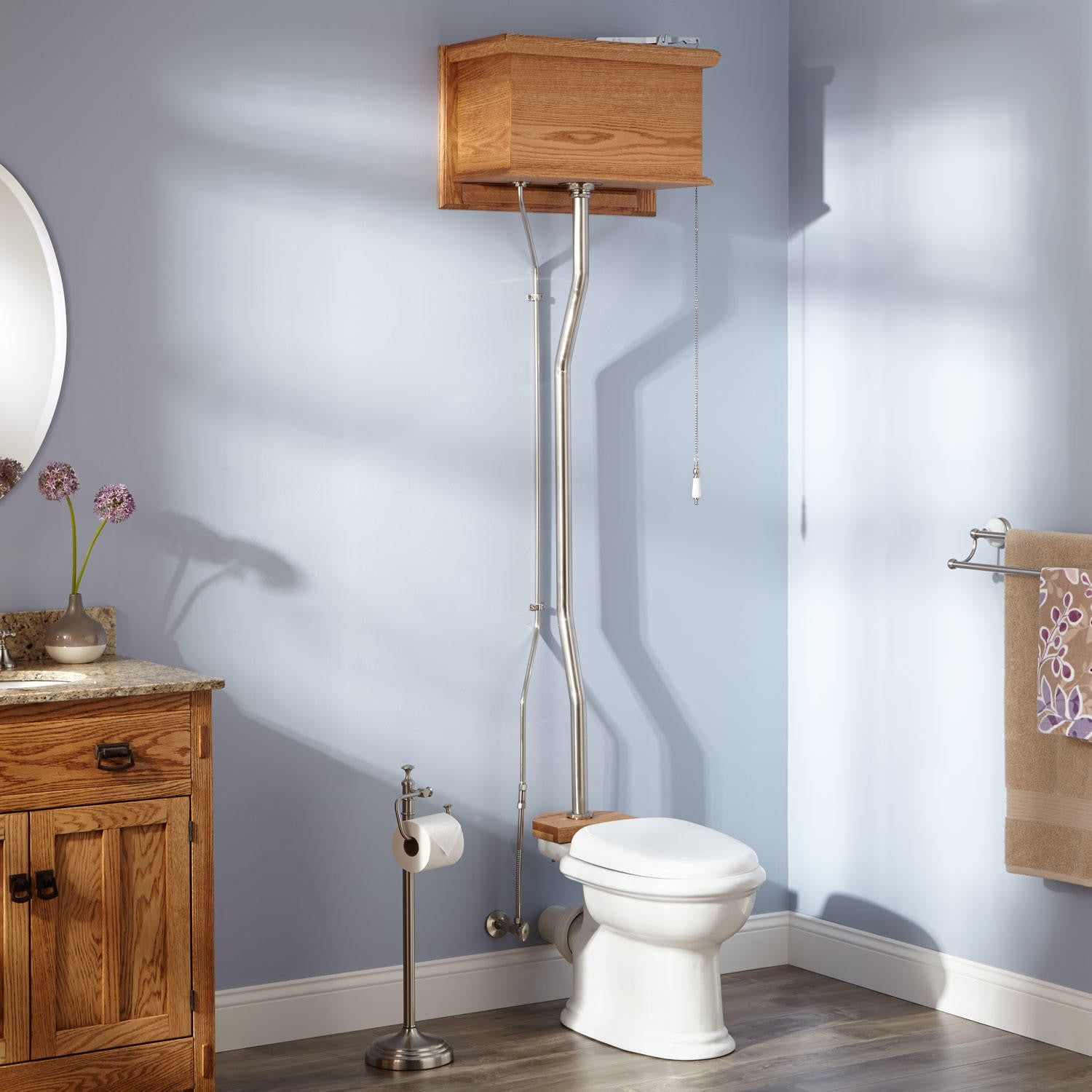 Golden Oak High Tank Pull Chain Water Closet With Rear Outlet Bowl Porcelain Signature Hardware Golden Oak Corner Toilet Victorian Bowls
