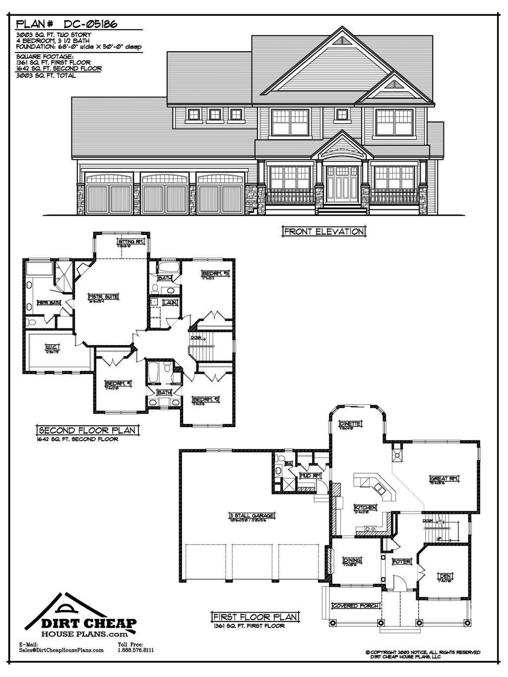 DC05186 Two Story Second story, House plans, Two story