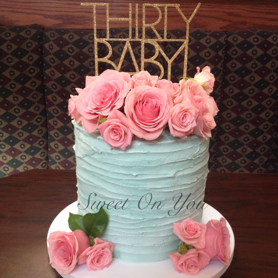 Blue And Pink Buttercream Cake With Fresh Flowers